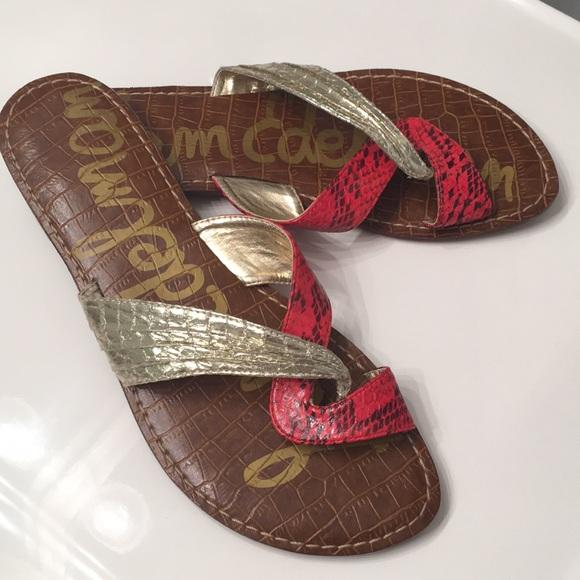 8c406c14cb3e Sam Edelman GWEN red gold sandals EUC. M 5b6b800742aa76691d026712